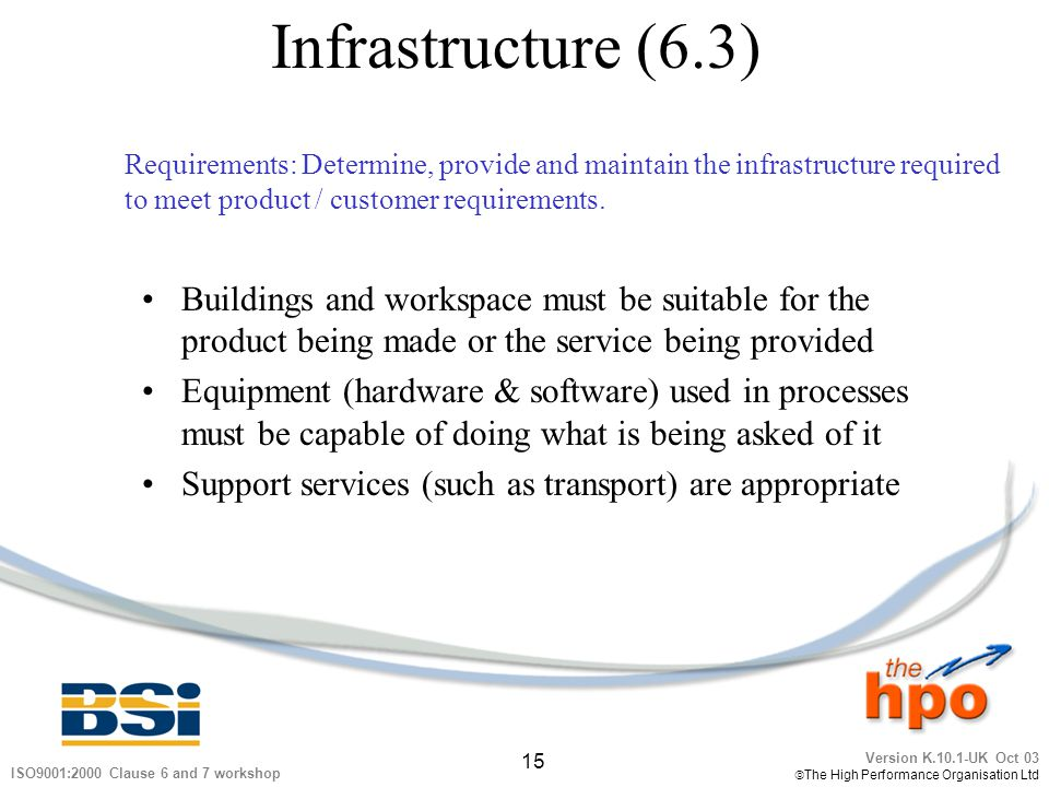 Infrastructure (6.3) Requirements: Determine, provide and maintain the infrastructure required. to meet product / customer requirements.