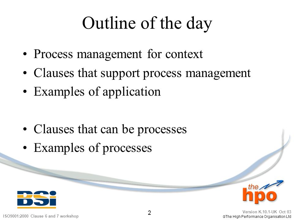 Outline of the day Process management for context