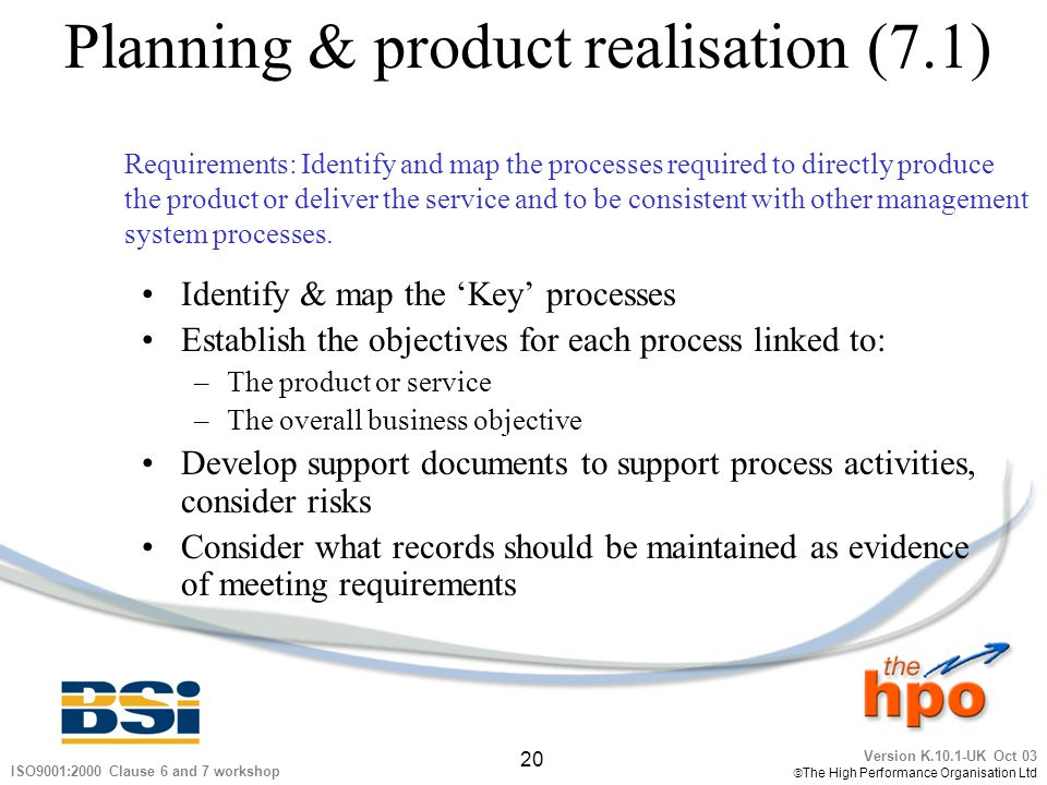 Planning & product realisation (7.1)
