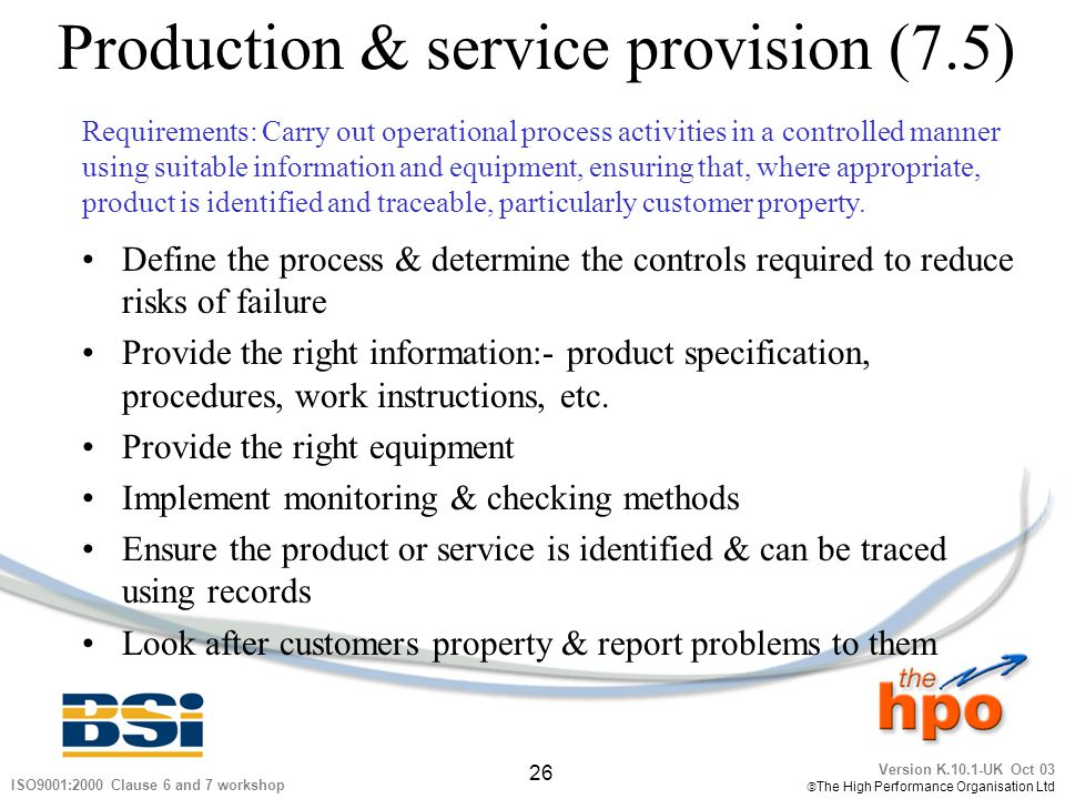Production & service provision (7.5)