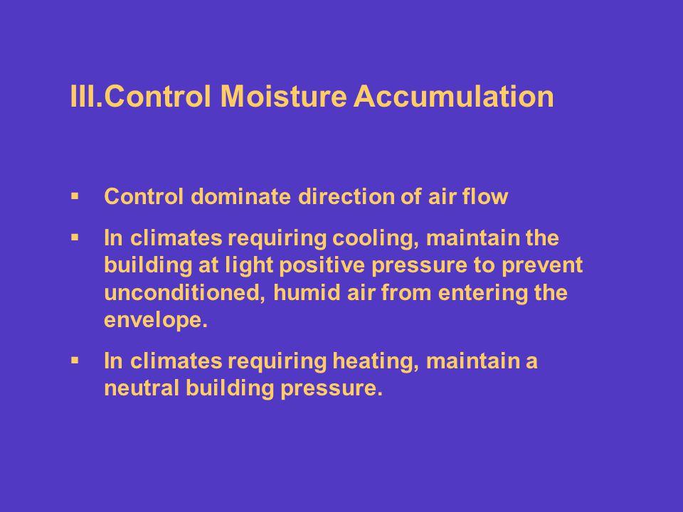 Control Moisture Accumulation
