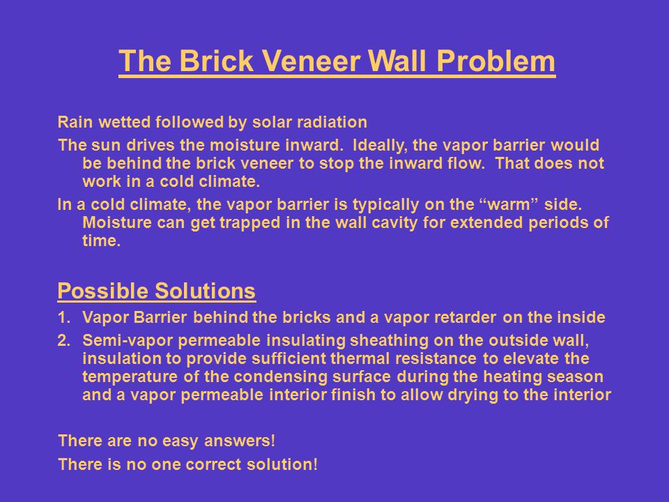 The Brick Veneer Wall Problem