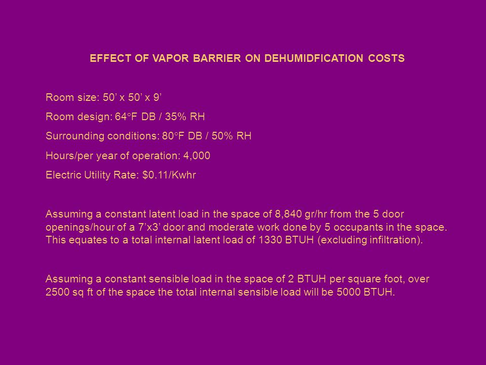 EFFECT OF VAPOR BARRIER ON DEHUMIDFICATION COSTS