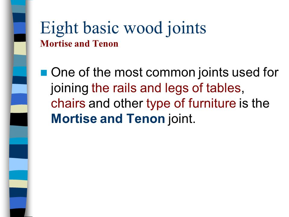 Eight basic wood joints Mortise and Tenon