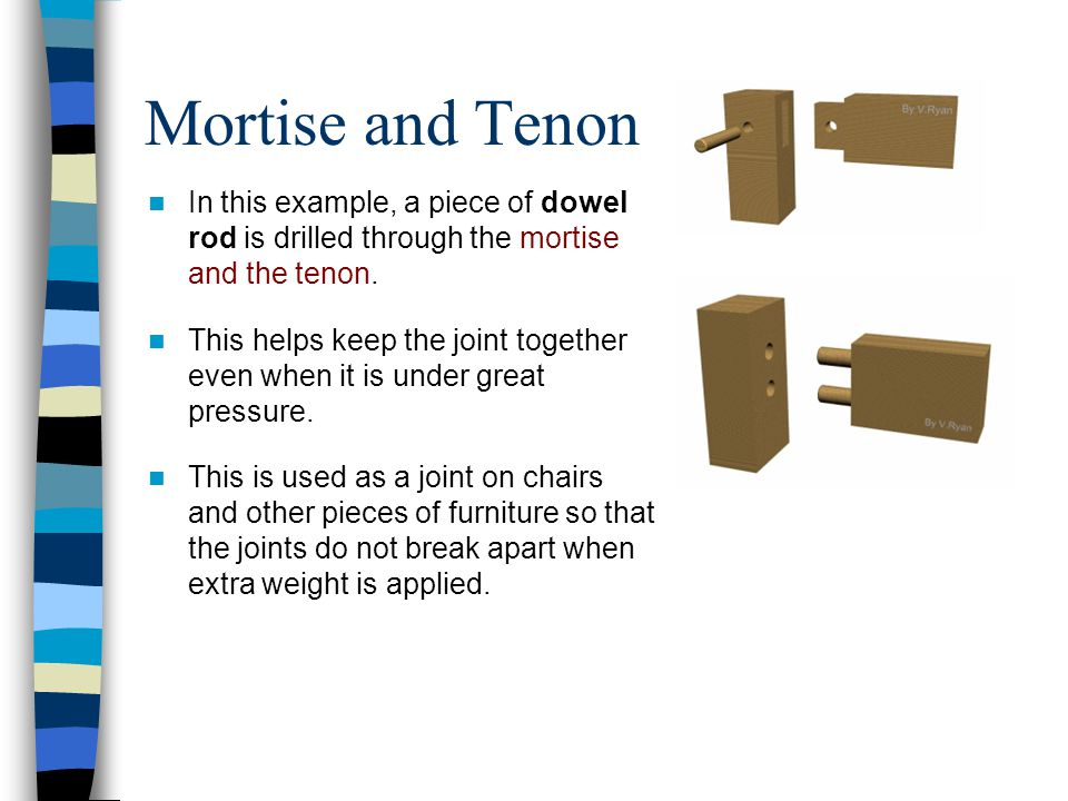 Mortise and Tenon In this example, a piece of dowel rod is drilled through the mortise and the tenon.