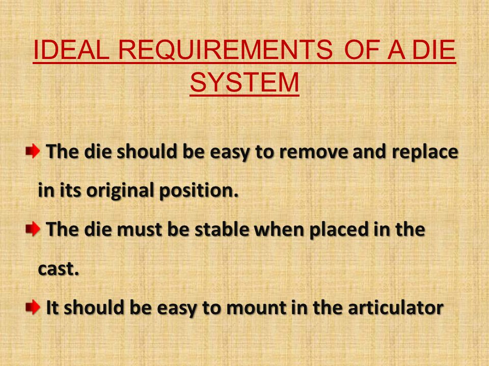 IDEAL REQUIREMENTS OF A DIE SYSTEM