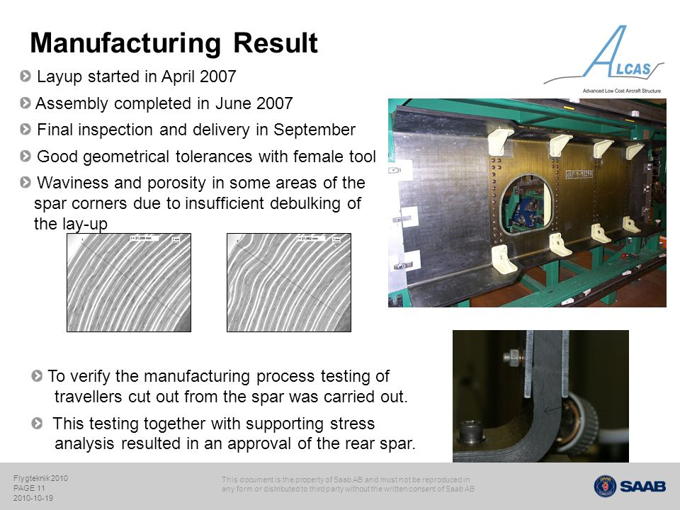 Manufacturing Result Layup started in April 2007