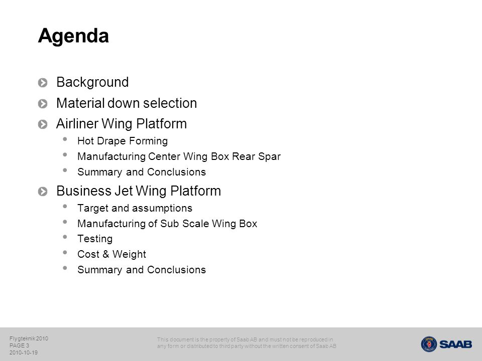 Agenda Background Material down selection Airliner Wing Platform