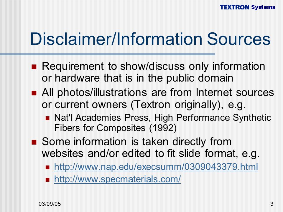 Disclaimer/Information Sources