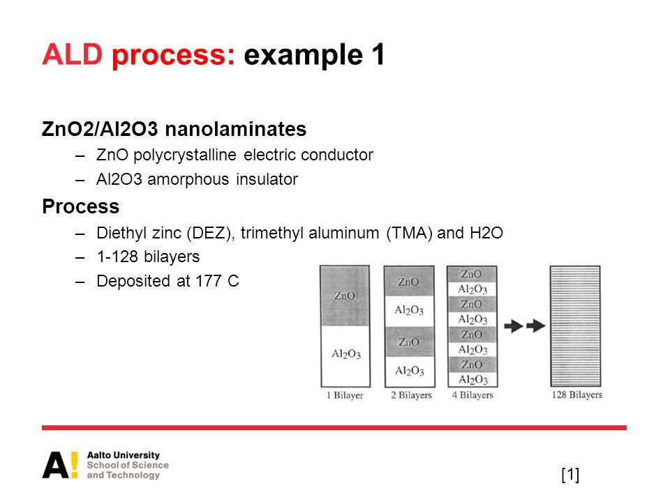 ALD process: example 1 ZnO2/Al2O3 nanolaminates Process