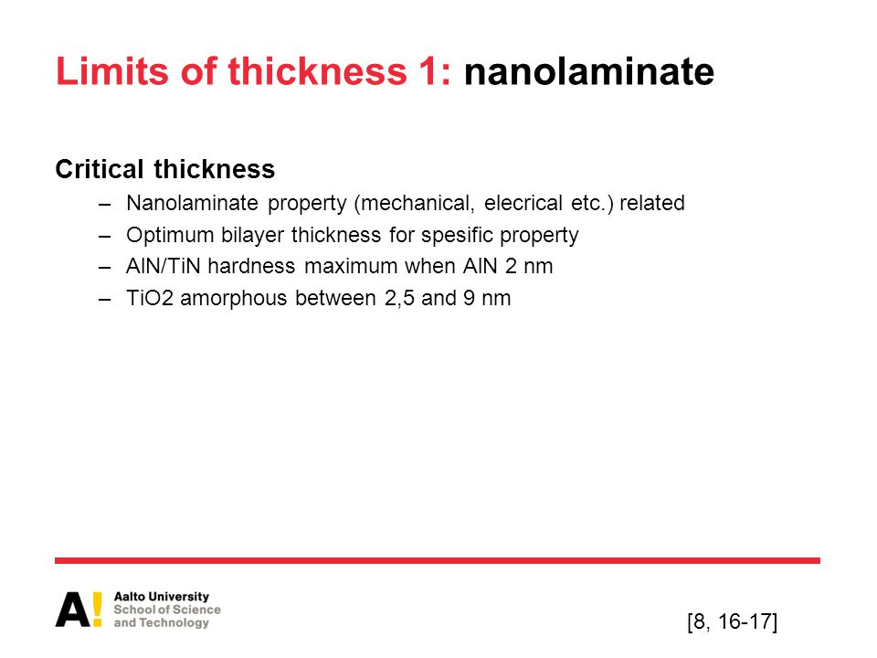 Limits of thickness 1: nanolaminate