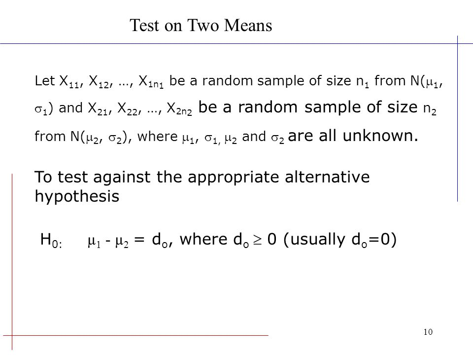 Test on Two Means