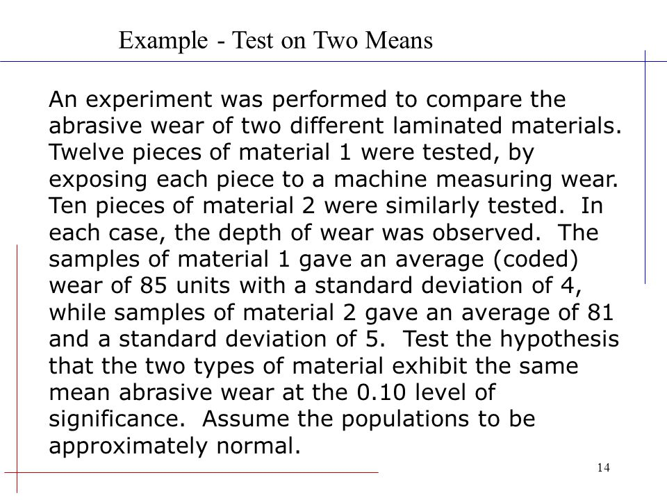 Example - Test on Two Means