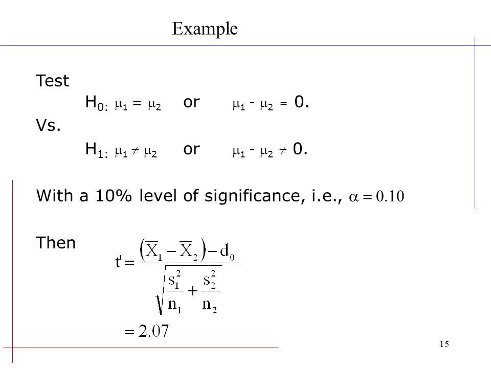Example Test H0: m1 = m2 or m1 - m2 = 0. Vs.