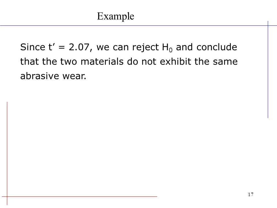 Example Since t' = 2.07, we can reject H0 and conclude that the two materials do not exhibit the same abrasive wear.