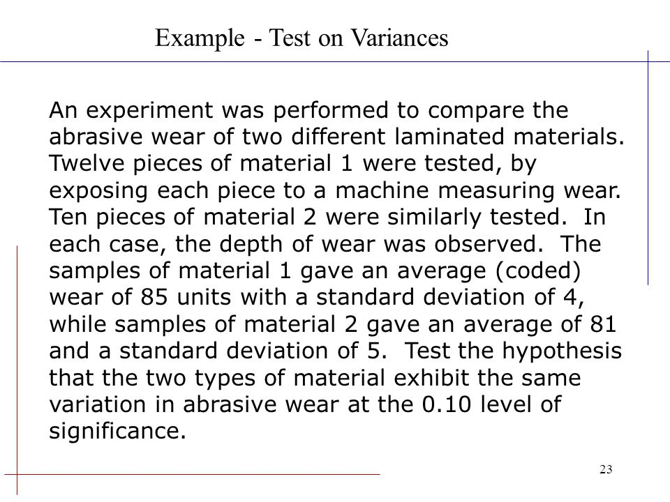 Example - Test on Variances