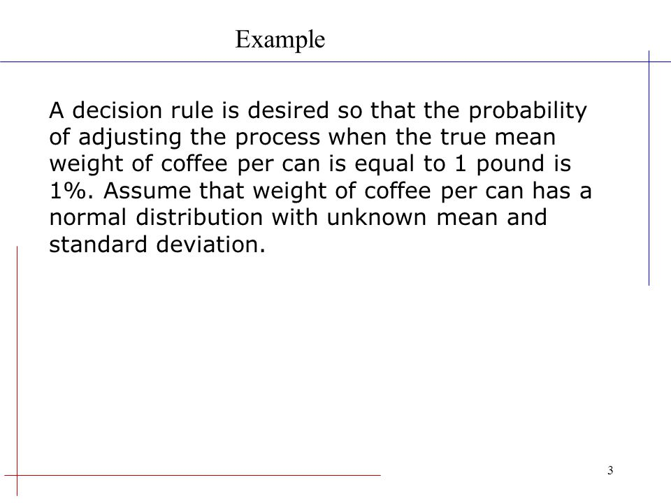 Example A decision rule is desired so that the probability
