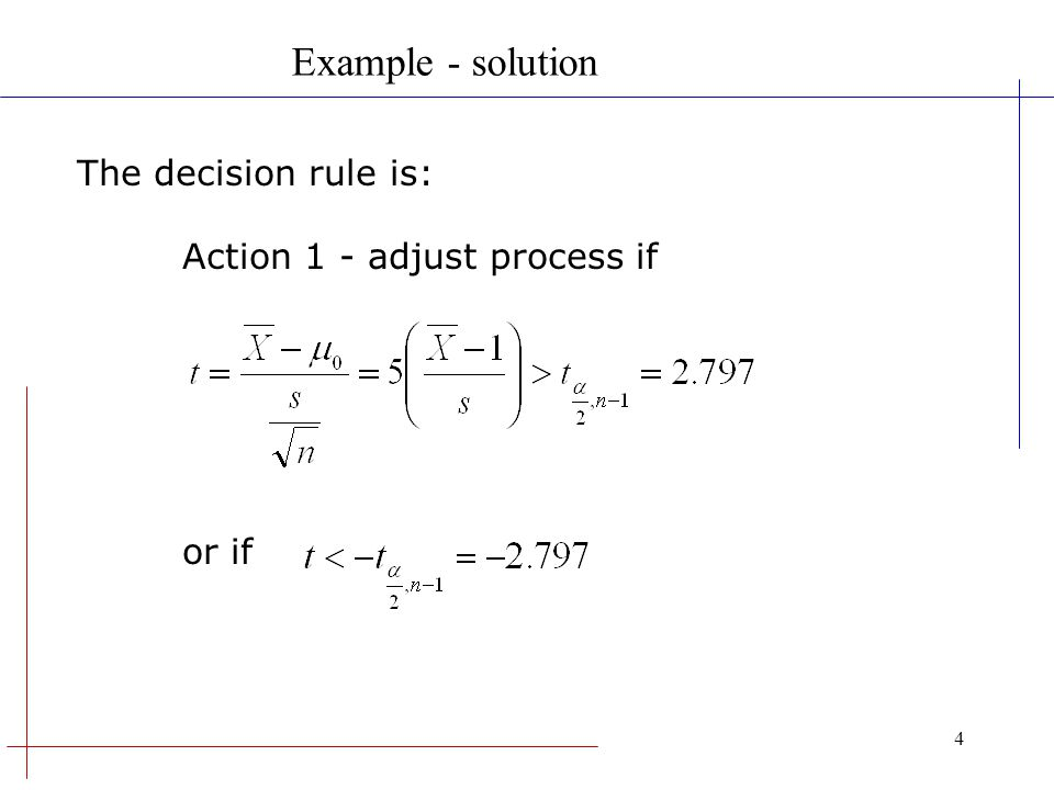 Example - solution The decision rule is: Action 1 - adjust process if