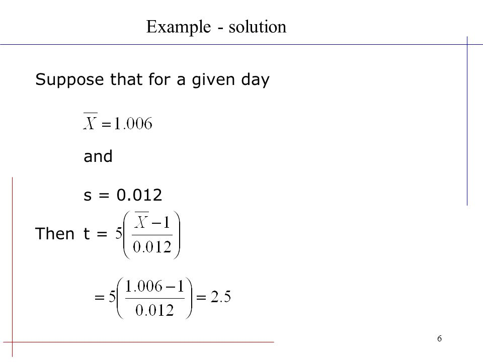 Example - solution Suppose that for a given day and s = 0.012 Then t =
