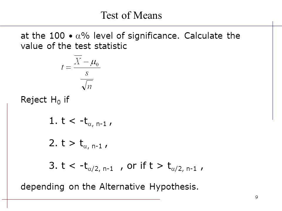 Test of Means 1. t < -t, n-1 , 2. t > t, n-1 ,