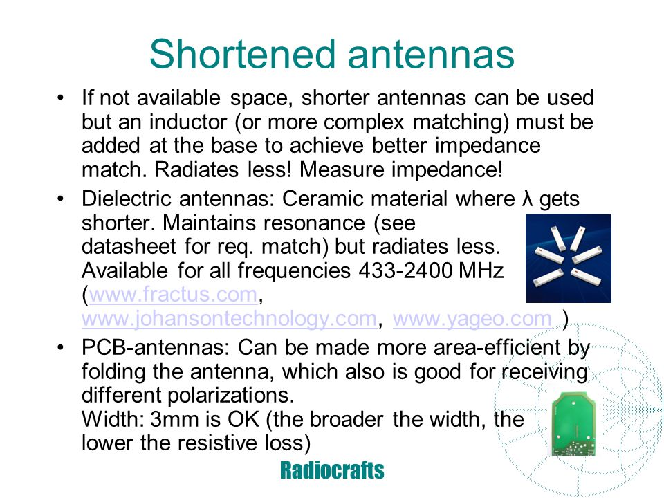 Shortened antennas