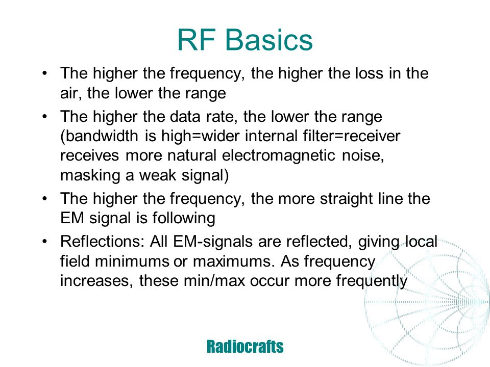 RF Basics The higher the frequency, the higher the loss in the air, the lower the range.