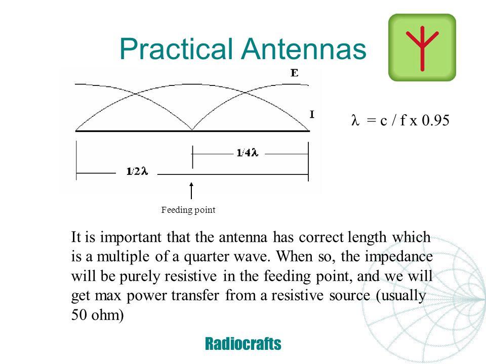 Practical Antennas λ = c / f x 0.95