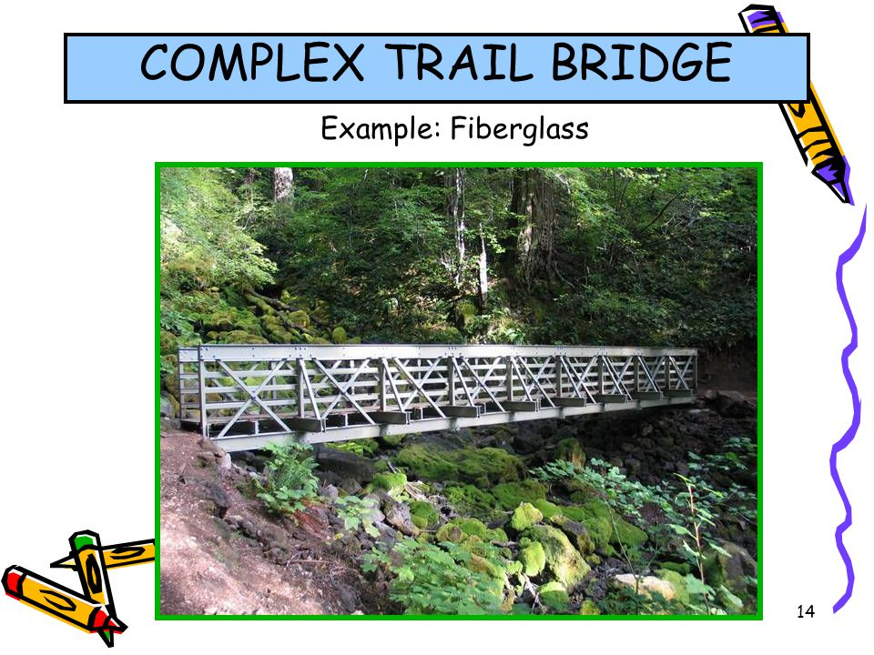 COMPLEX TRAIL BRIDGE Example: Fiberglass