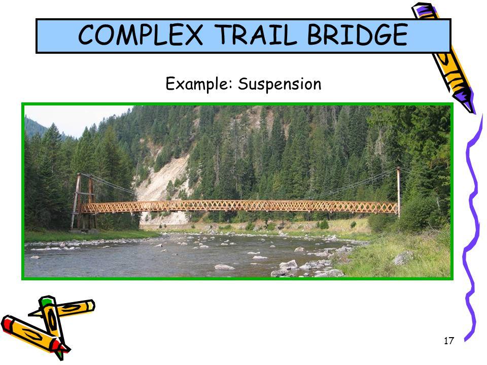 COMPLEX TRAIL BRIDGE Example: Suspension