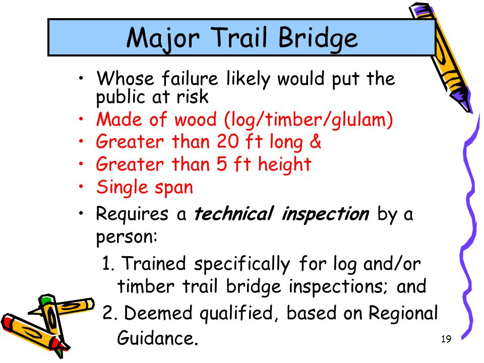 Major Trail Bridge Whose failure likely would put the public at risk