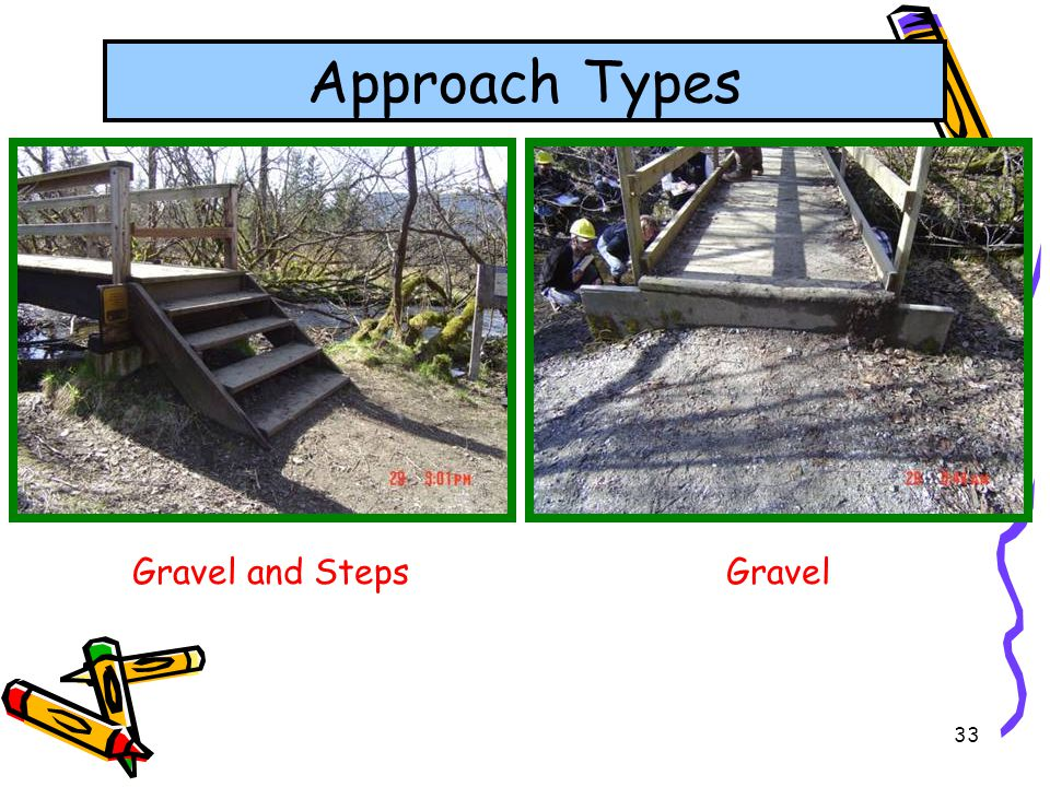 Approach Types Gravel and Steps Gravel
