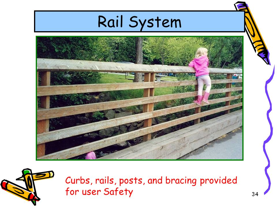Rail System Curbs, rails, posts, and bracing provided for user Safety