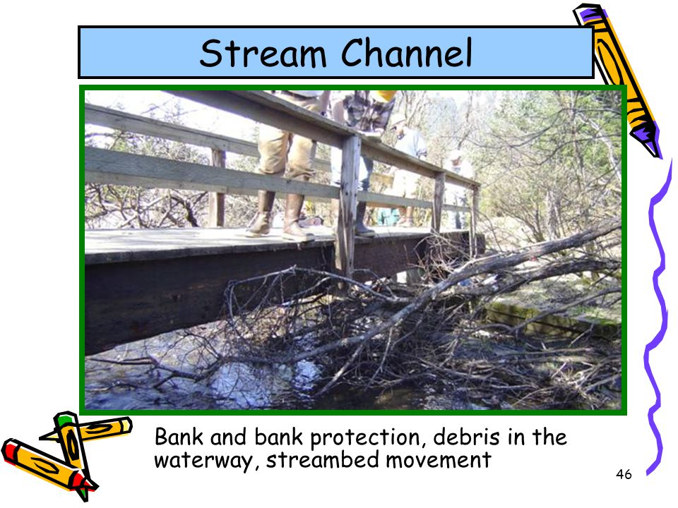 Stream Channel Bank and bank protection, debris in the waterway, streambed movement