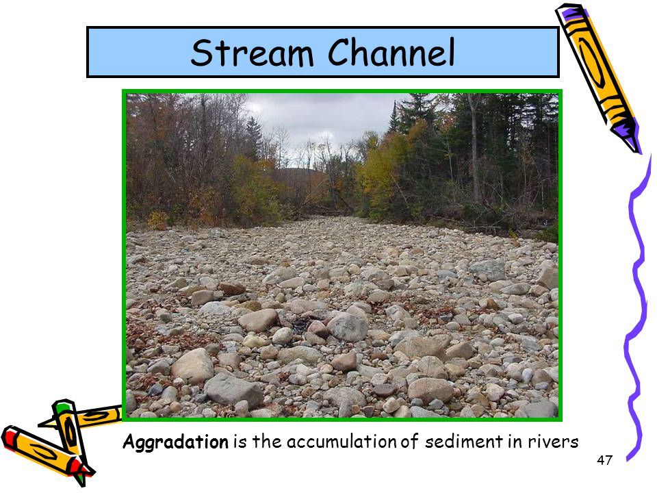 Stream Channel Aggradation is the accumulation of sediment in rivers