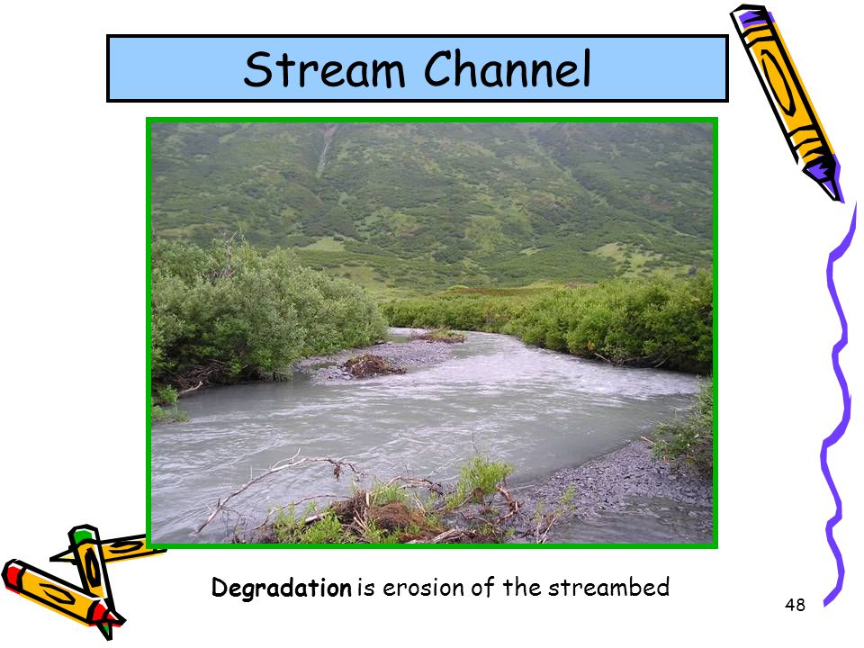 Stream Channel Degradation is erosion of the streambed
