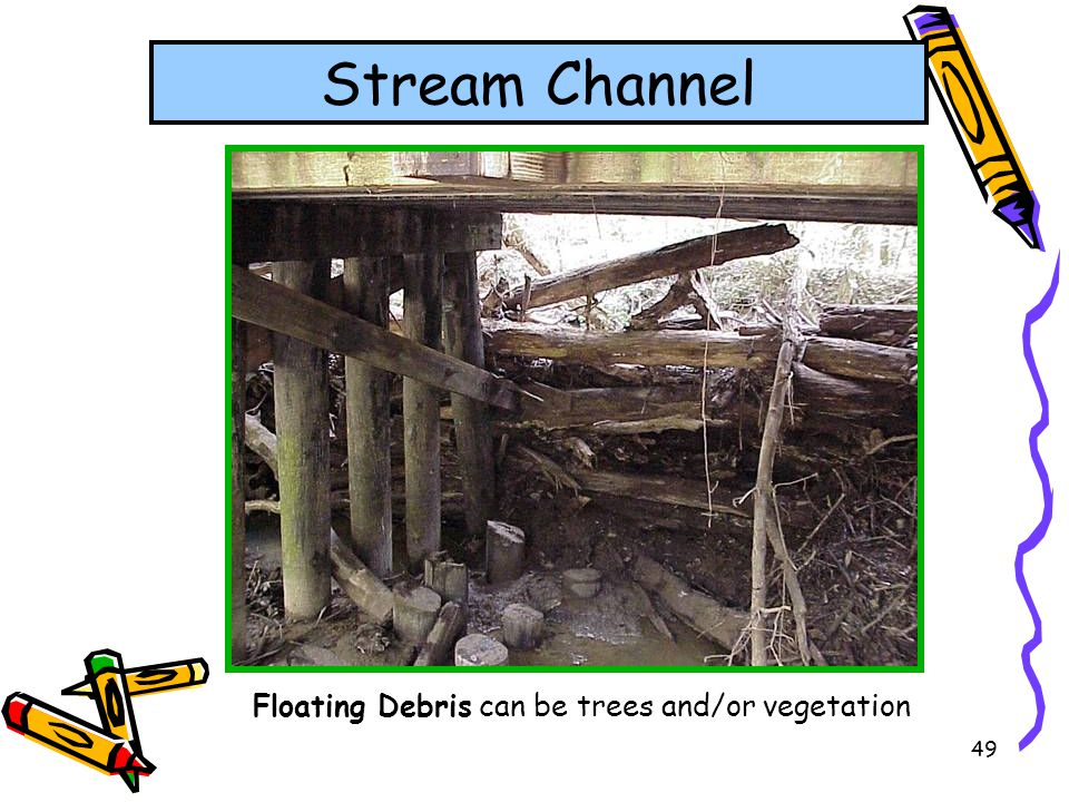 Floating Debris can be trees and/or vegetation