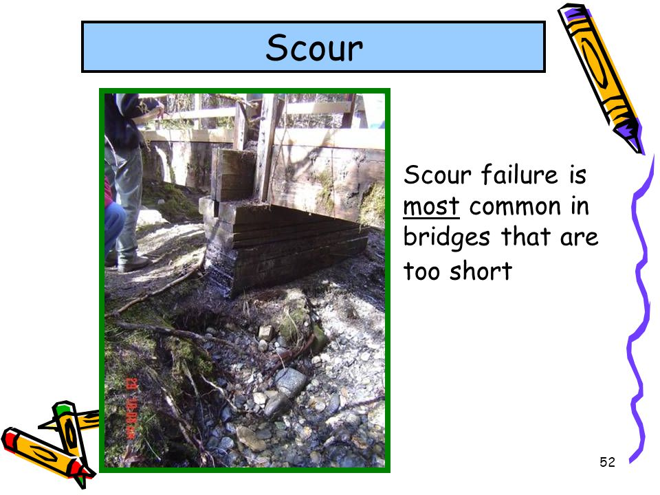 Scour Scour failure is most common in bridges that are too short