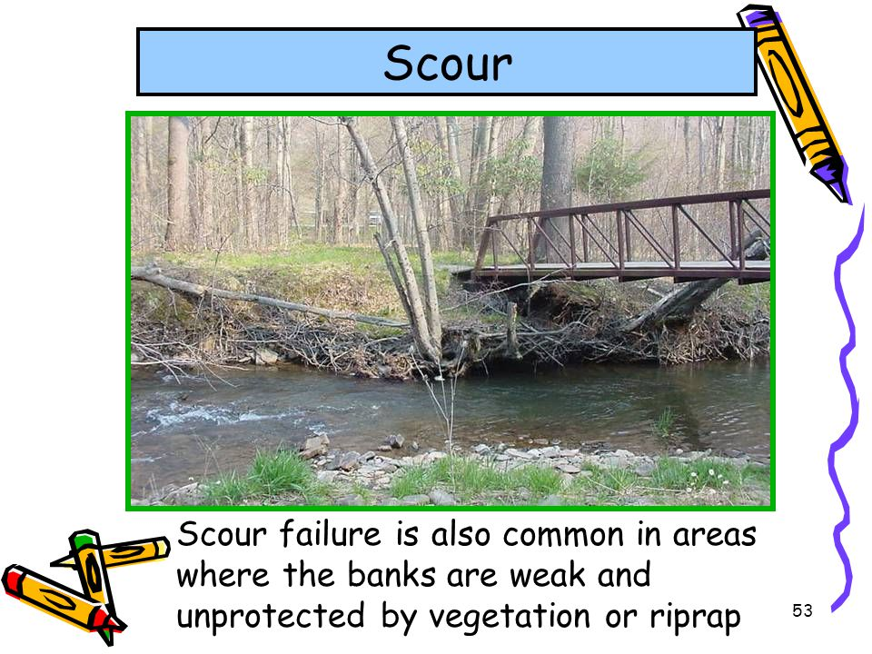 Scour Scour failure is also common in areas where the banks are weak and unprotected by vegetation or riprap.