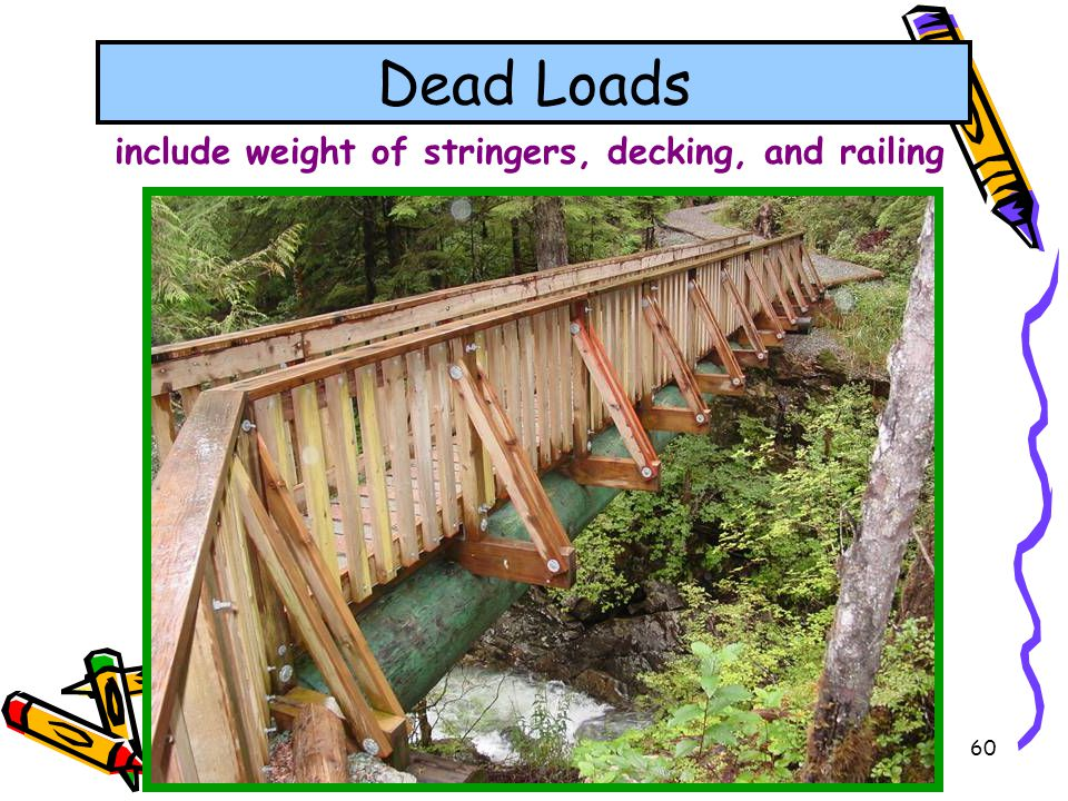 include weight of stringers, decking, and railing