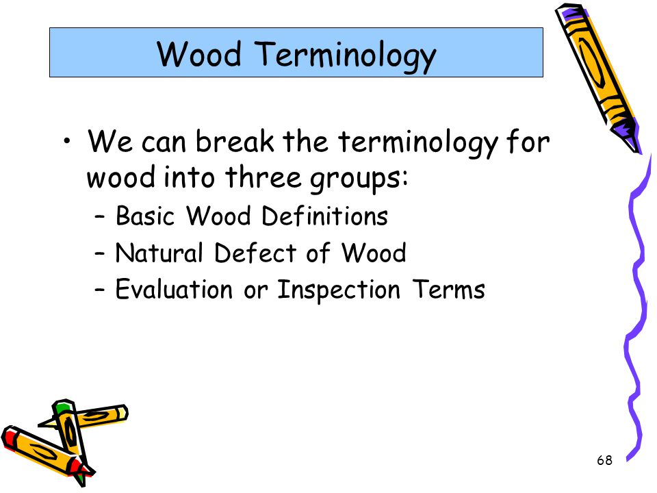 Wood Terminology We can break the terminology for wood into three groups: Basic Wood Definitions. Natural Defect of Wood.