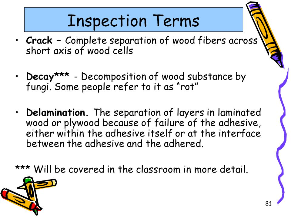 Inspection Terms Crack – Complete separation of wood fibers across short axis of wood cells.