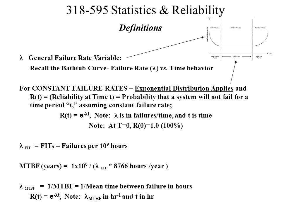 R(t) = e-lt, Note: l is in failures/time, and t is time