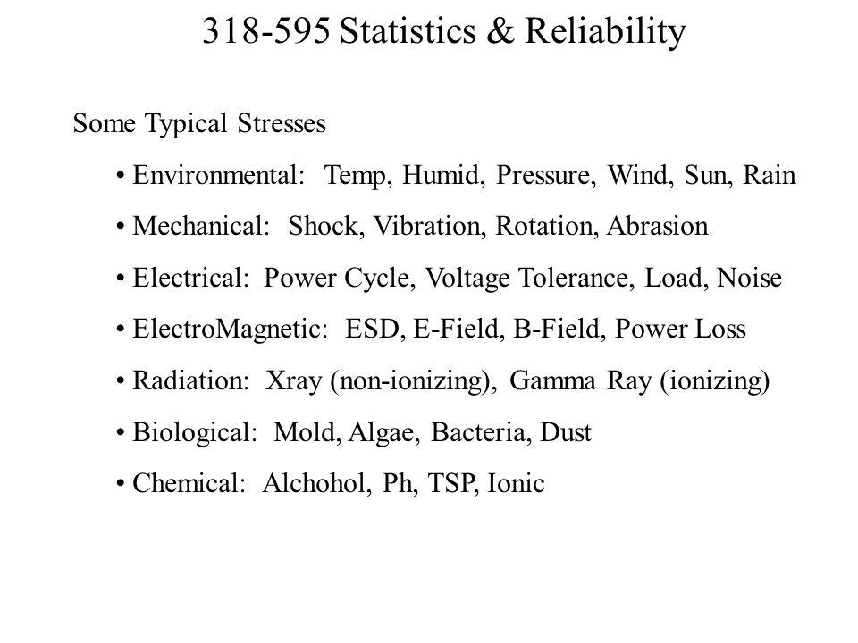 Some Typical Stresses Environmental: Temp, Humid, Pressure, Wind, Sun, Rain. Mechanical: Shock, Vibration, Rotation, Abrasion.