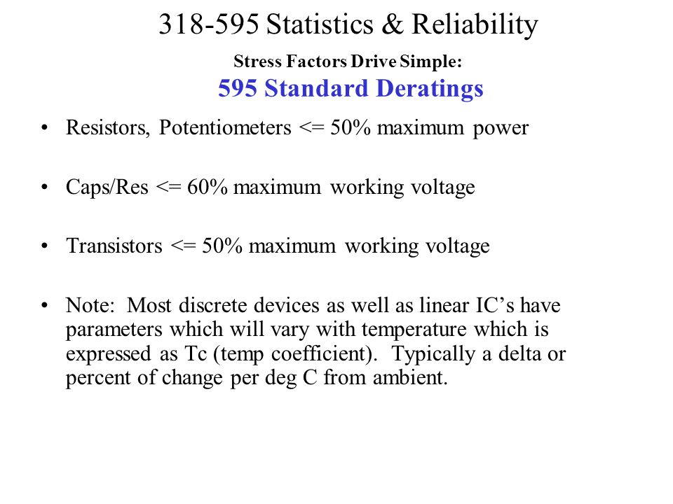 Stress Factors Drive Simple: 595 Standard Deratings