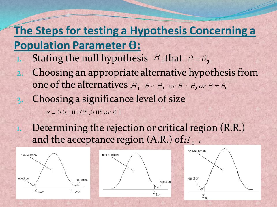 The Steps for testing a Hypothesis Concerning a Population Parameter Ѳ: