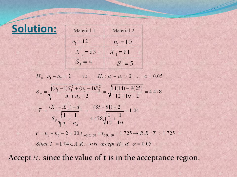 Solution: Accept since the value of t is in the acceptance region.