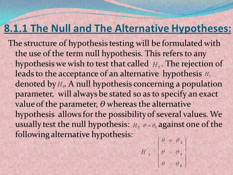 8.1.1 The Null and The Alternative Hypotheses: