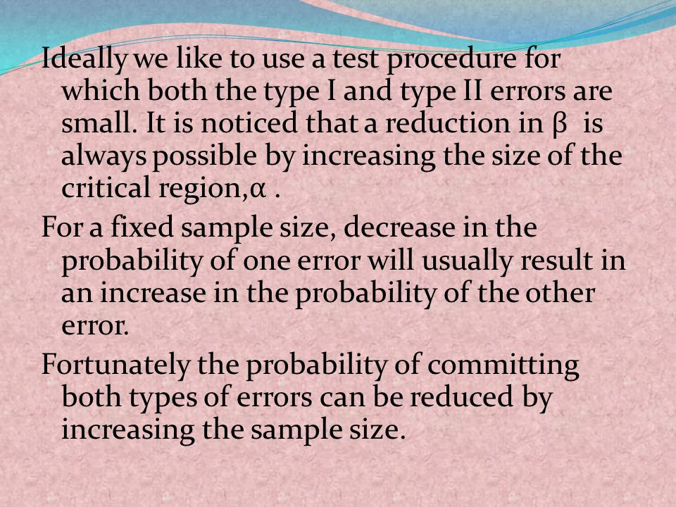 Ideally we like to use a test procedure for which both the type I and type II errors are small.