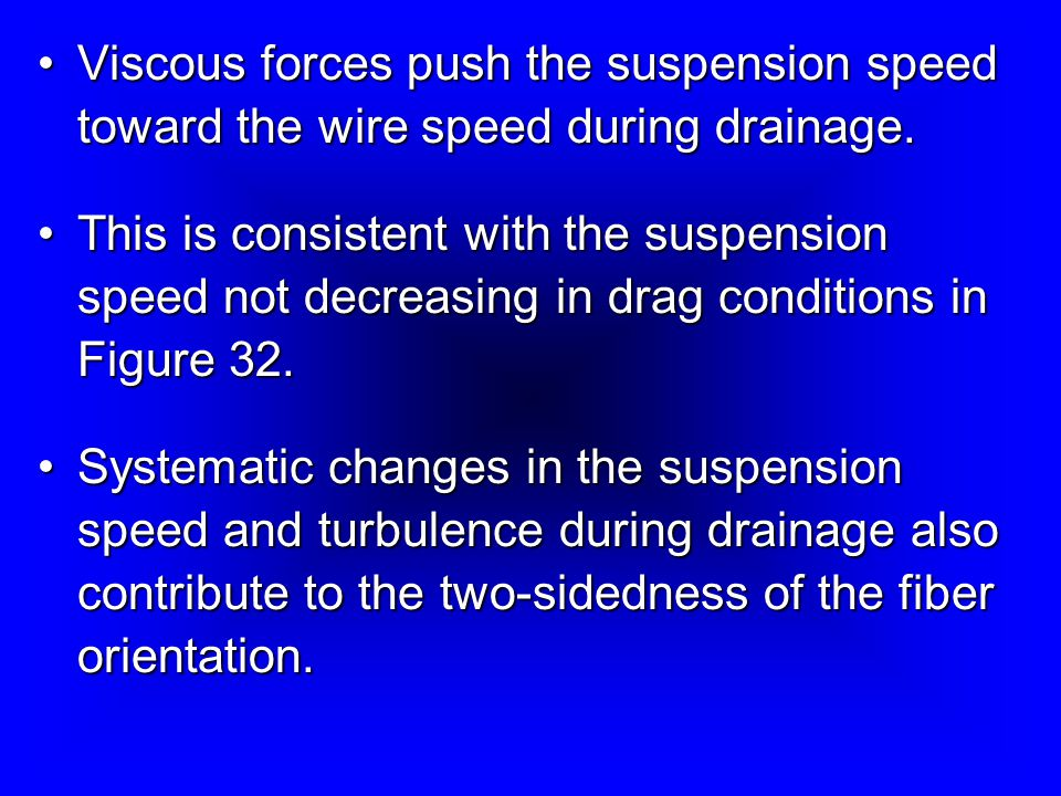 Viscous forces push the suspension speed toward the wire speed during drainage.