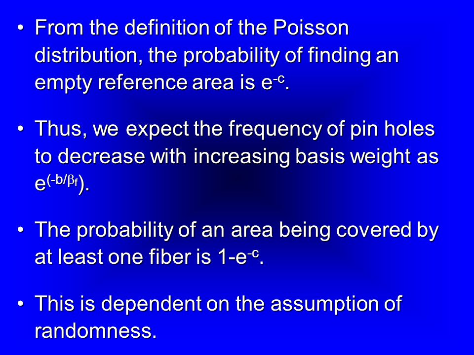 From the definition of the Poisson distribution, the probability of finding an empty reference area is e-c.